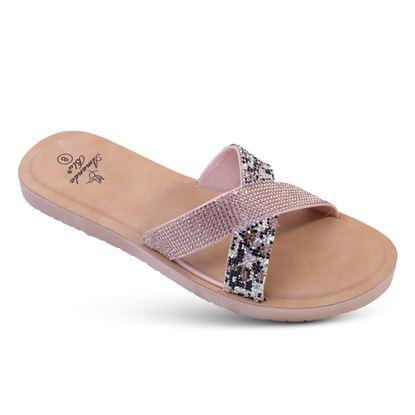 Picture of Alyssa - Bling Criss-Cross Slide Sandal - Rose