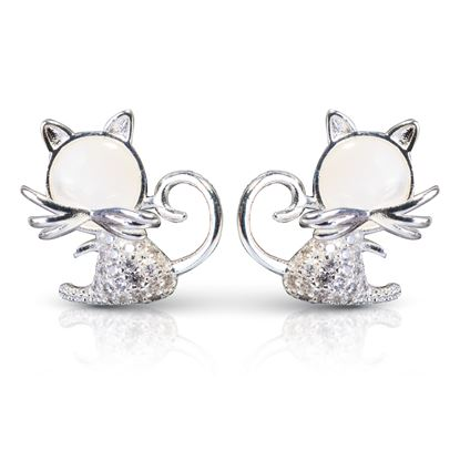 Picture of CZ/Mother of Pearl Cat Earrings - Silver