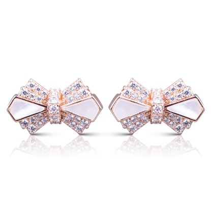 Picture of CZ/Mother of Pearl Bow Earrings - Rosegold