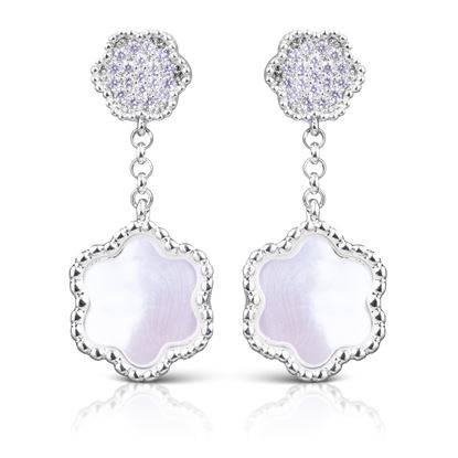 Picture of CZ/Mother of Pearl Clover Earrings - Silver