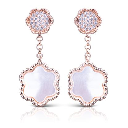 Picture of CZ/Mother of Pearl Clover Earrings - Rosegold