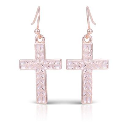 Picture of Rosegold Enameled Earrings - Herringbone Cross